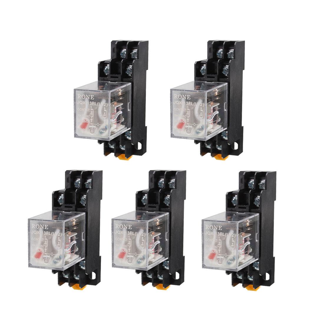 5 Pcs AC 220V-240V DPDT 8 Pins Red LED General Purpose Power Relay w Socket Base