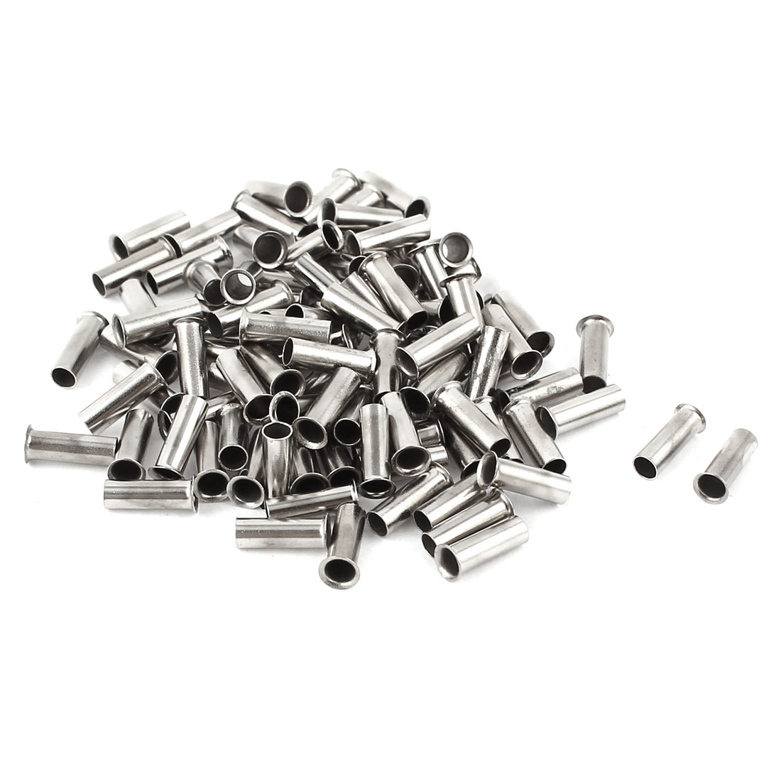 100 Pieces Silver Tone EN2508 Copper A.W.G 14 8mmx3mm Non-Insulated Wire Ferrule