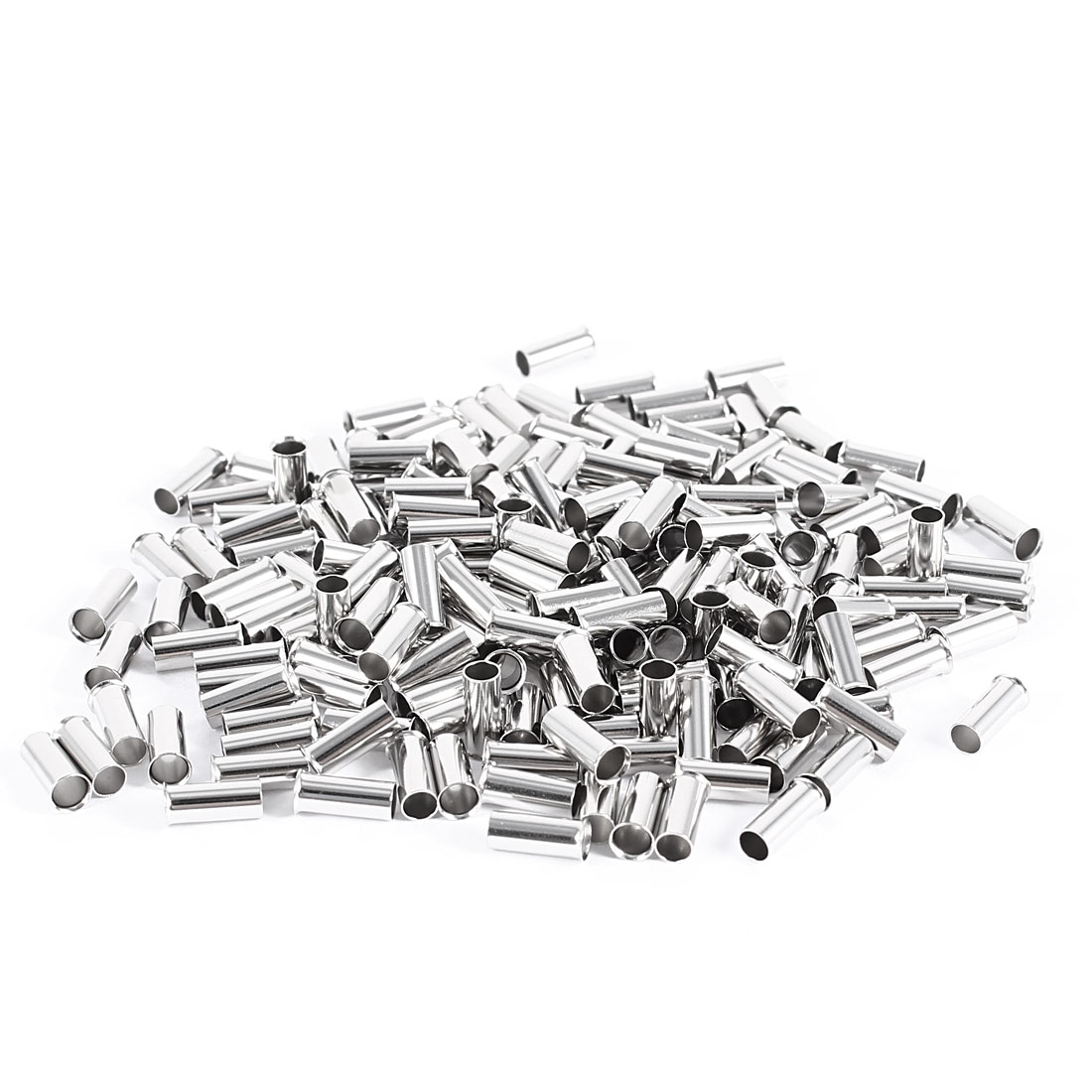 200 Pieces Silver Tone EN4009 Copper A.W.G 12 8mmx4mm Non-Insulated Wire Ferrule