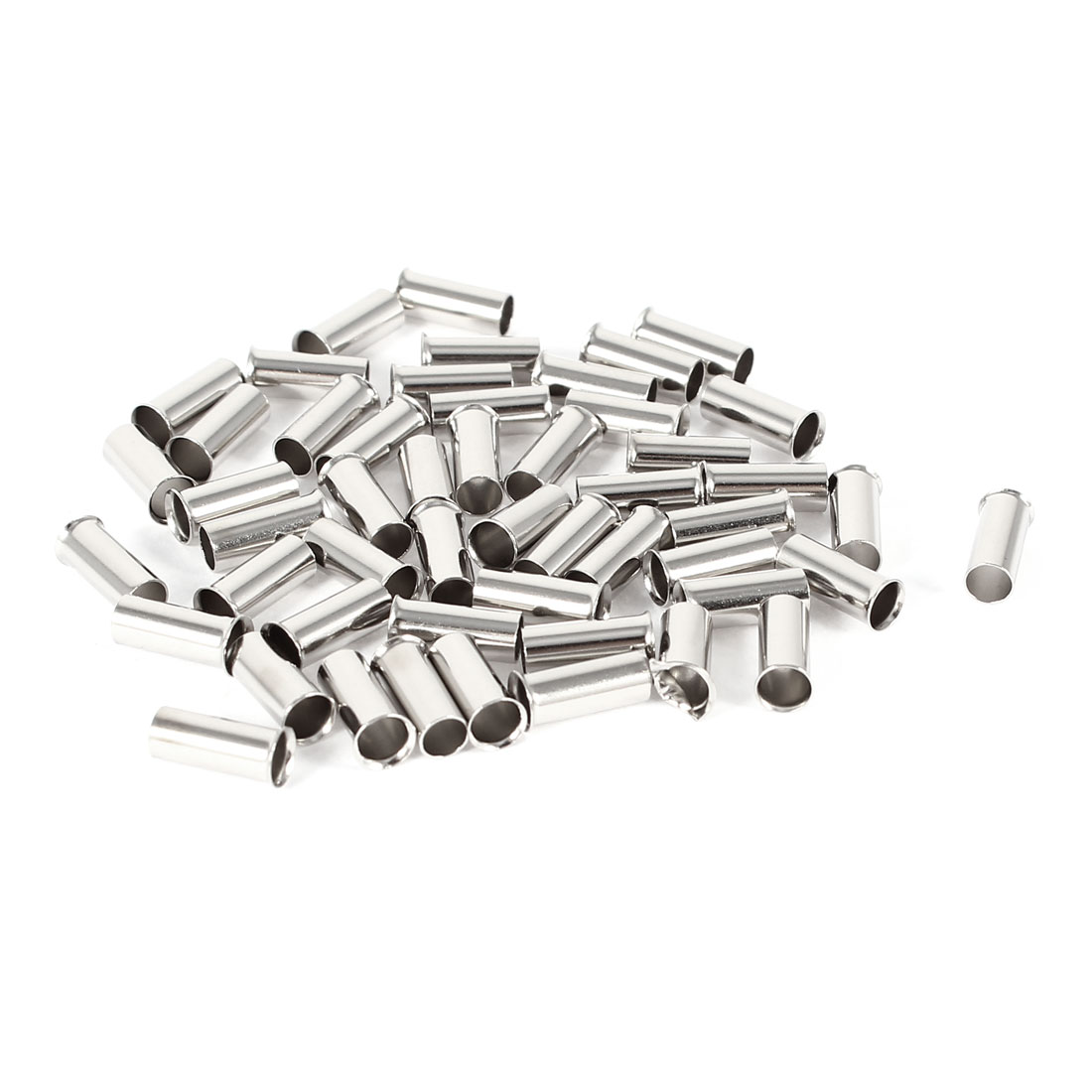 50 Pieces Silver Tone EN4009 Copper A.W.G 12 8mmx4mm Non-Insulated Wire Ferrules