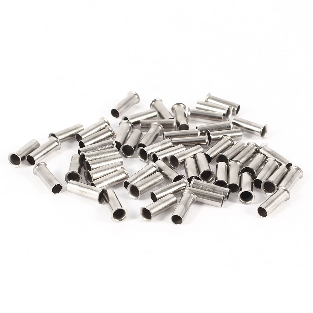 50 Pieces Silver Tone EN2508 Copper A.W.G 14 8mmx3mm Non-Insulated Wire Ferrules