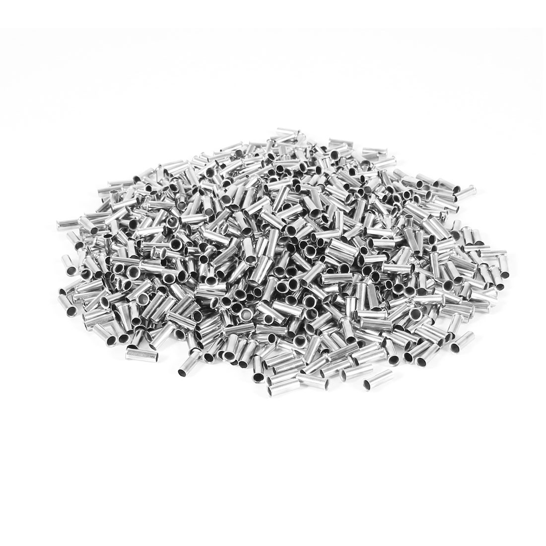 1000 Pieces Silver Tone EN2508 Copper A.W.G 14 8x3mm Non-Insulated Wire Ferrules