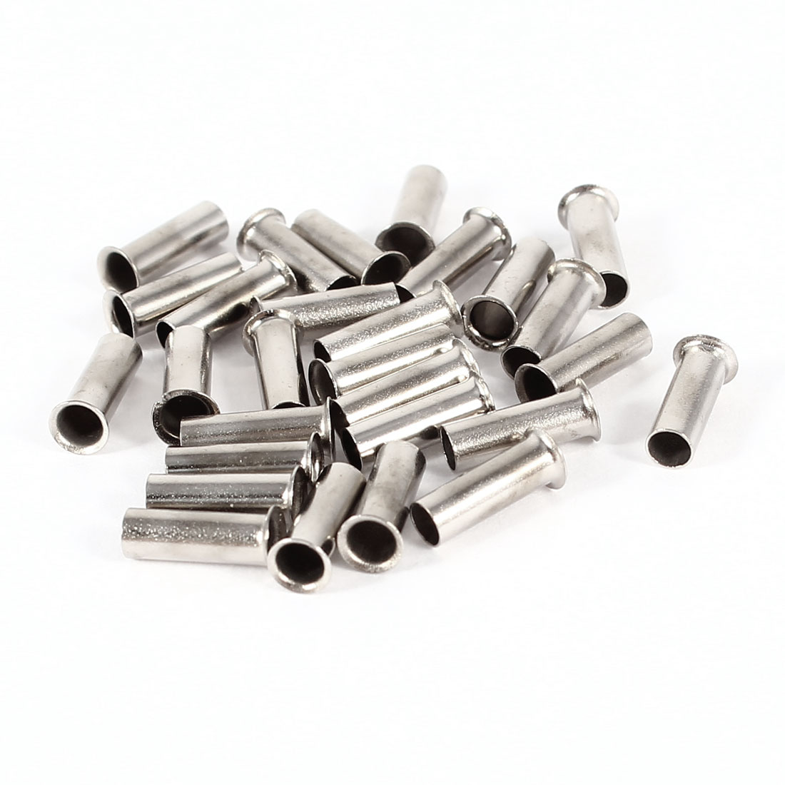 30 Pieces Silver Tone EN2508 Copper A.W.G 14 8mmx3mm Non-Insulated Wire Ferrules