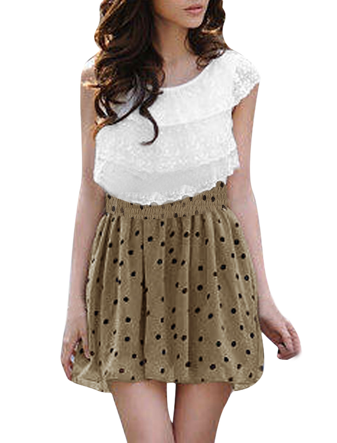 Ladies Dots Pattern Lace Tiered Design Sweet Dress Whtie Khaki L