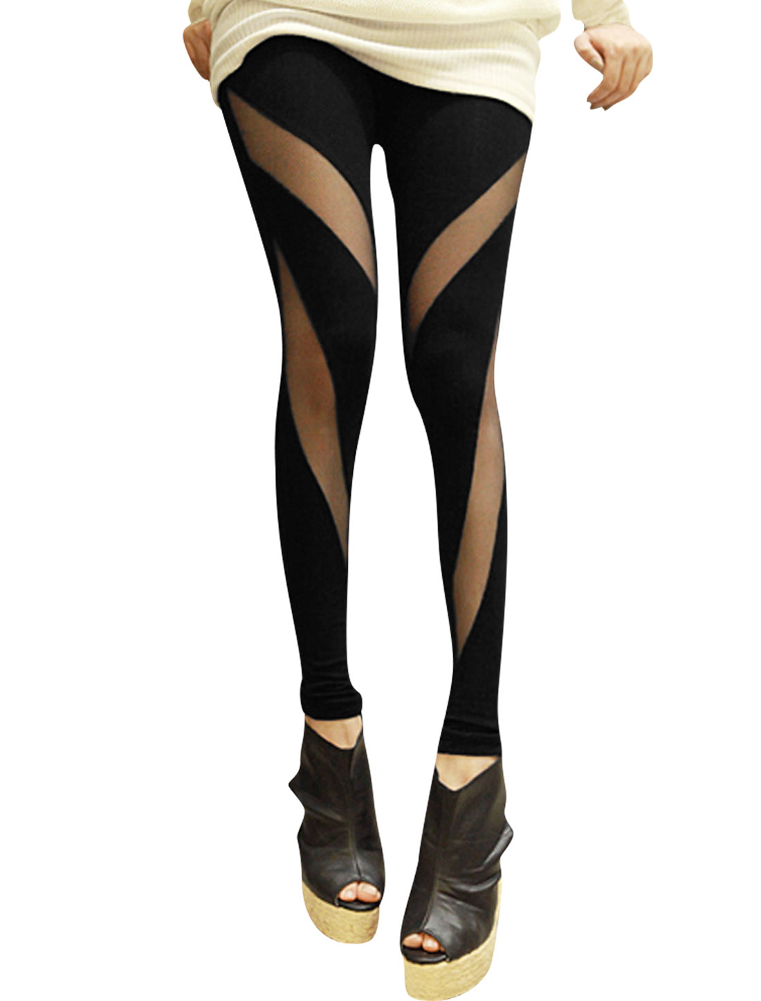 Woman Elastic Waist Panel Net Casual Skinny Leggings Black L