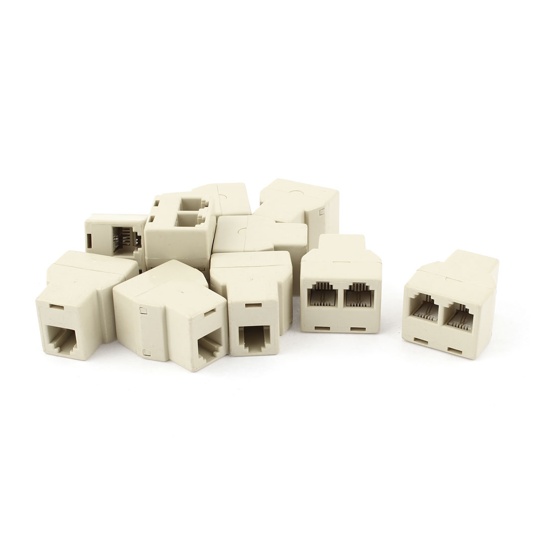 10 Pcs RJ11 6P2C Female to 2 Female Telephone Modem ADSL Splitter Adapter Beige