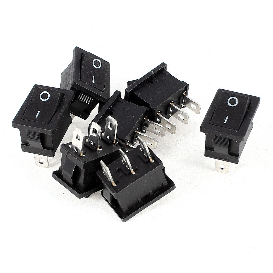 AC 250V 6A AC 125V 10A 3 Terminals SPDT 2 Positions Rocker Switch Black 7 Pieces