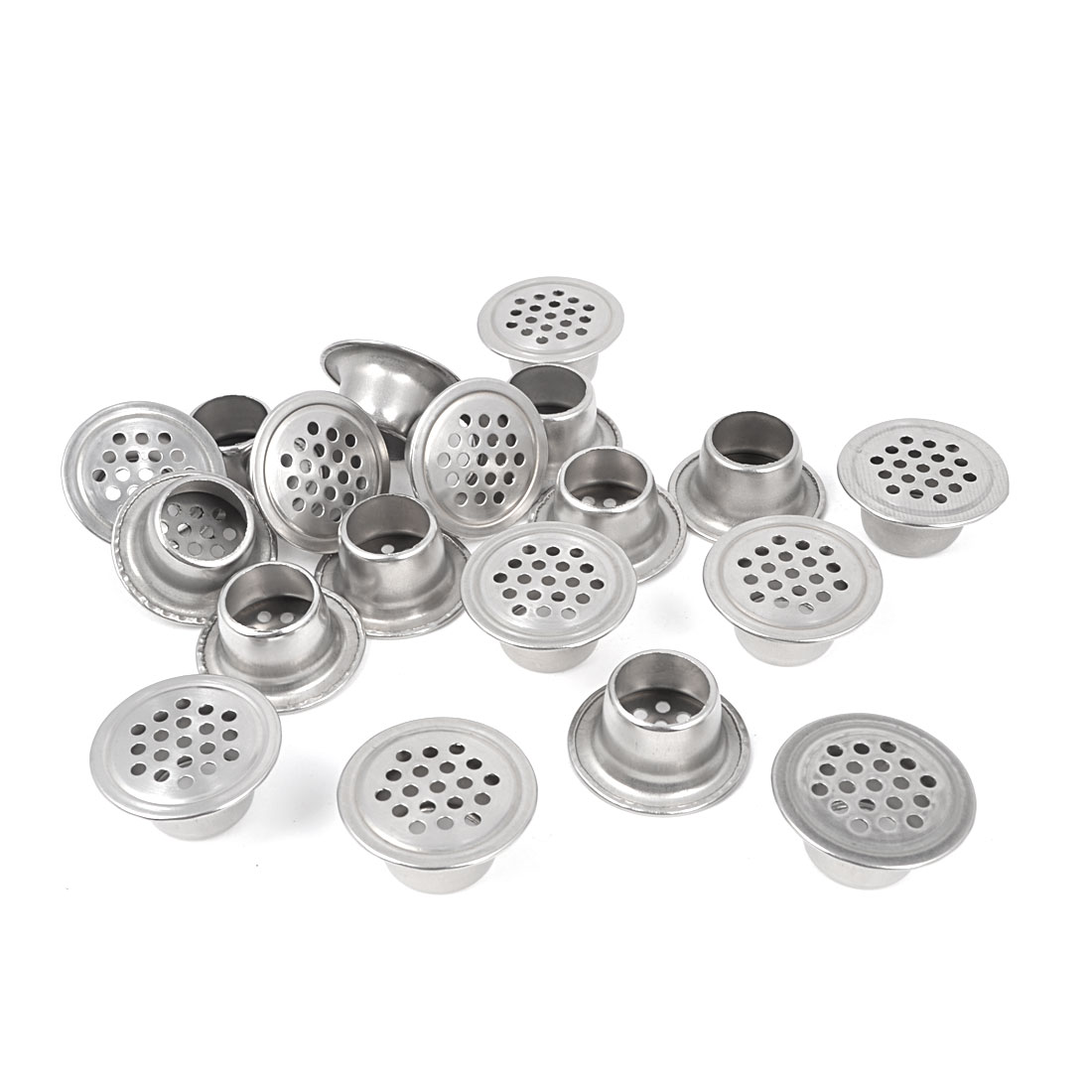 Home Bathroom Silver Tone Stainless Steel 30mm Dia Mesh Hole Air Vents 20 Pcs