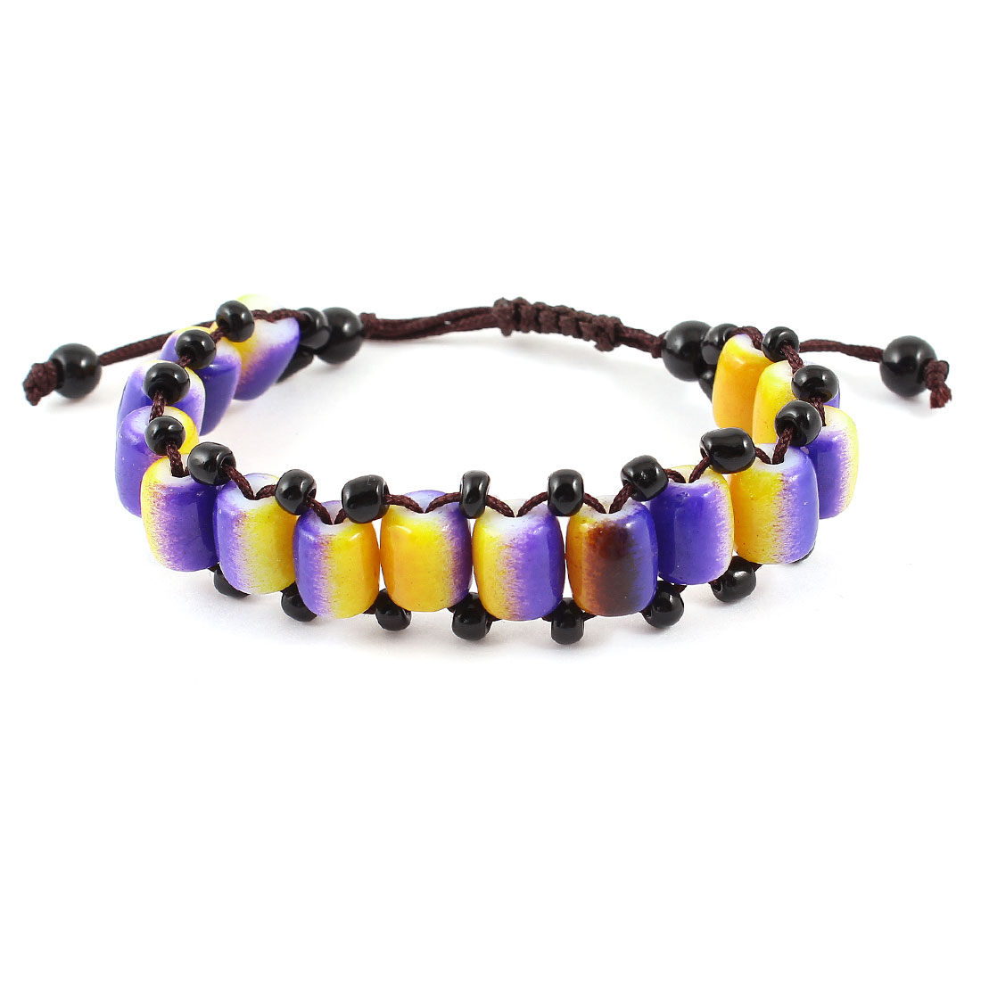 Lady Handmade Nylon Rope Purple Yellow Plastic Beads Decor Pull String Wrist Bracelet