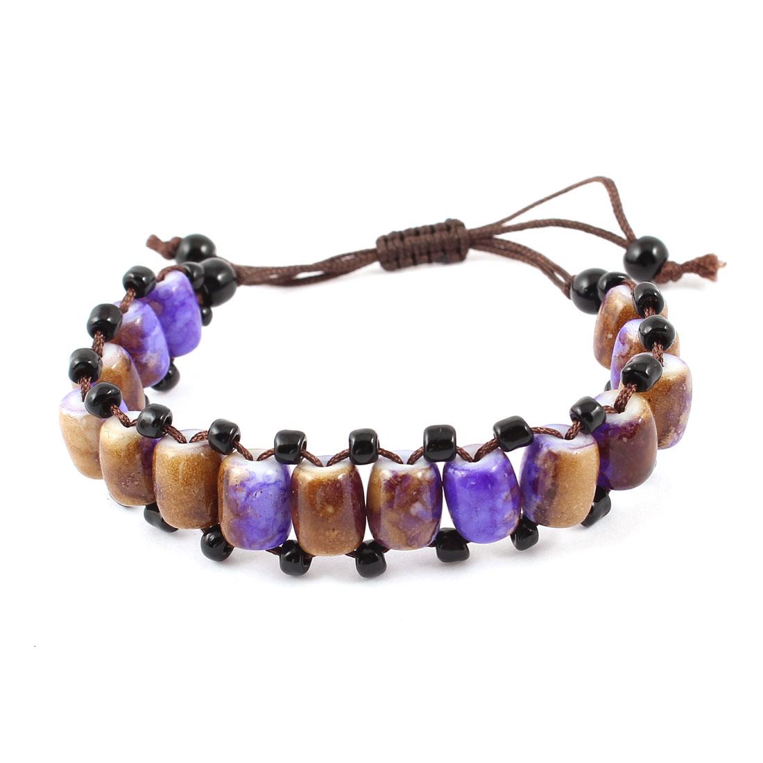 Lady Handmade Nylon Rope Purple Coffee Color Plastic Beads Decor Pull String Wrist Bracelet