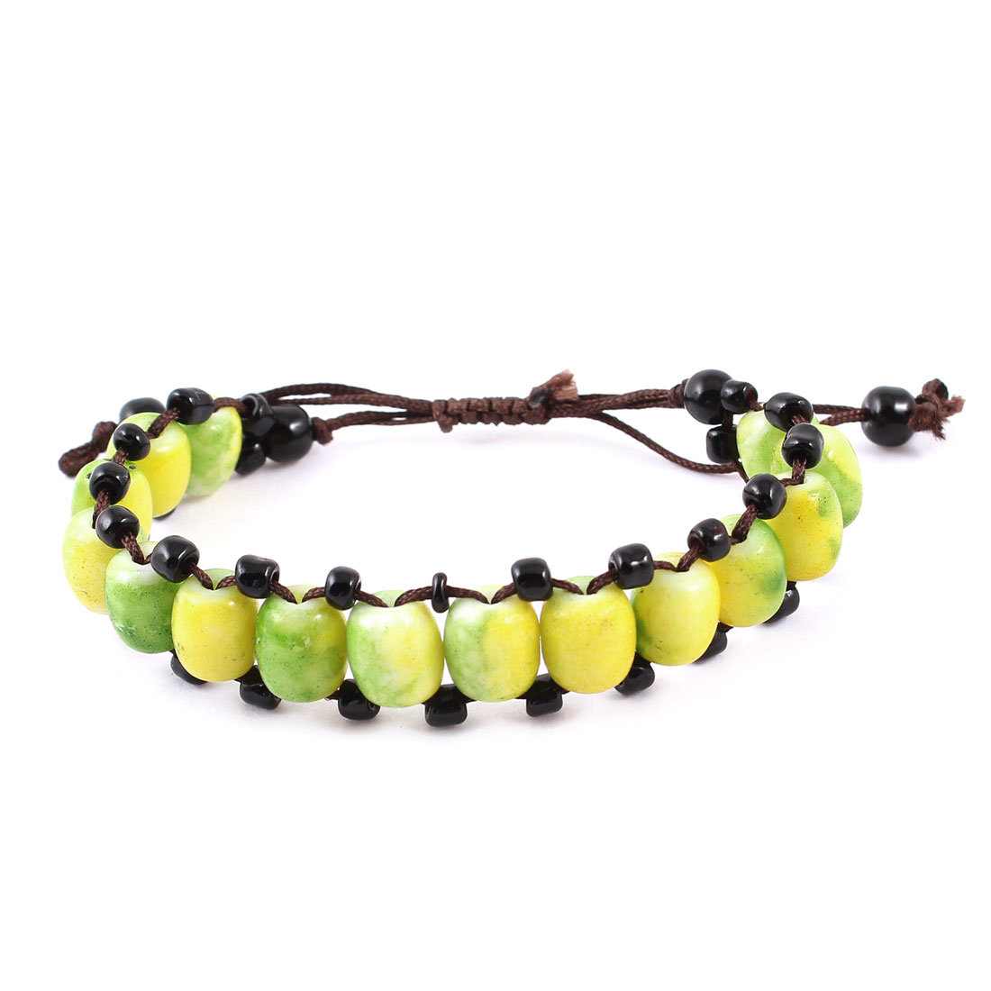 Lady Handmade Nylon Rope Yellow Green Plastic Beads Decor Pull String Wrist Bracelet