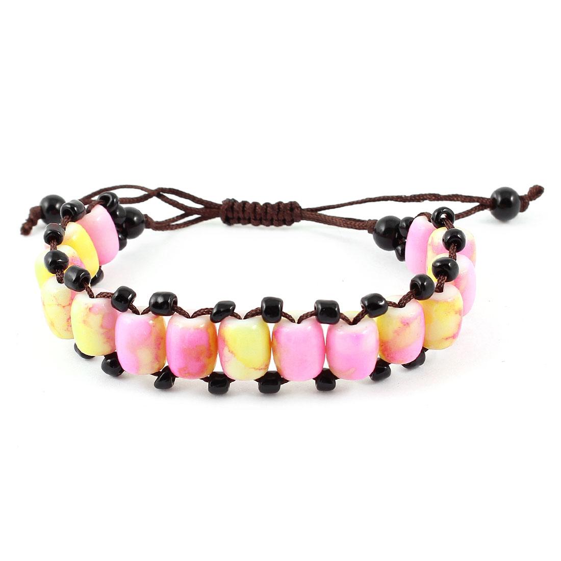 Lady Handmade Nylon Rope Pink Yellow Plastic Beads Decor Pull String Wrist Bracelet