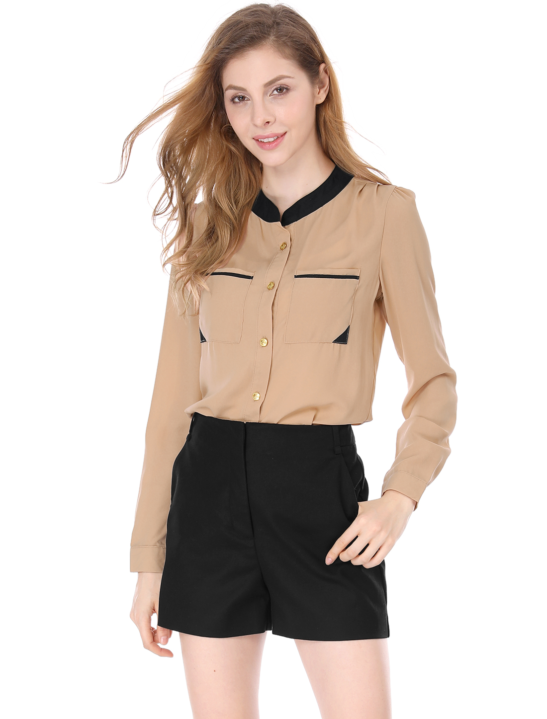 Women See Through Two Bust Patch Pockets Chiffon Shirt Beige L