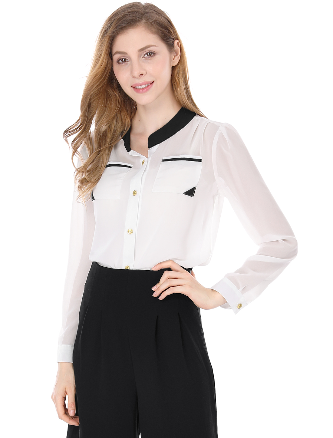 Ladies Two Patch Pockets Semi Sheer Slim Chiffon Shirt White L