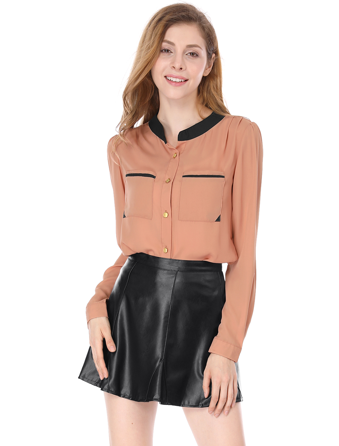 Lady Stand Collar Patch Pockets Chiffon Shirt Salmon Pink L
