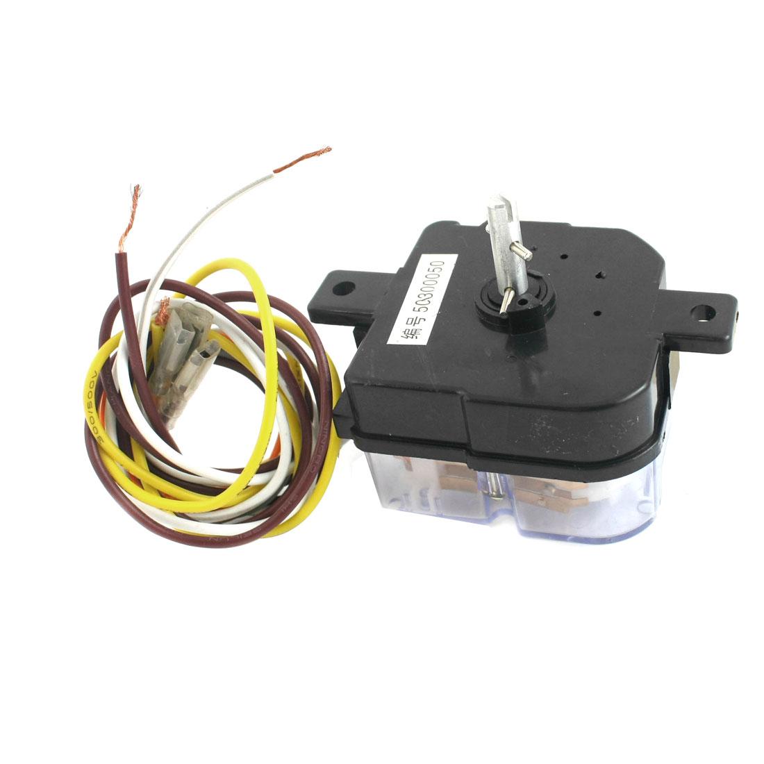 AC250V 3A 6 Wires 45 Degree Rotary Shaft Washing Machine Washer Timer Black