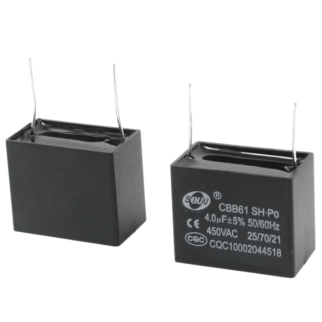 2 Pcs AC 450V 4uF 5% Tolerance 2 Pin Radial Lead Type Non Polar Polypropylene Film Air Condition Motor Running Capacitor Black