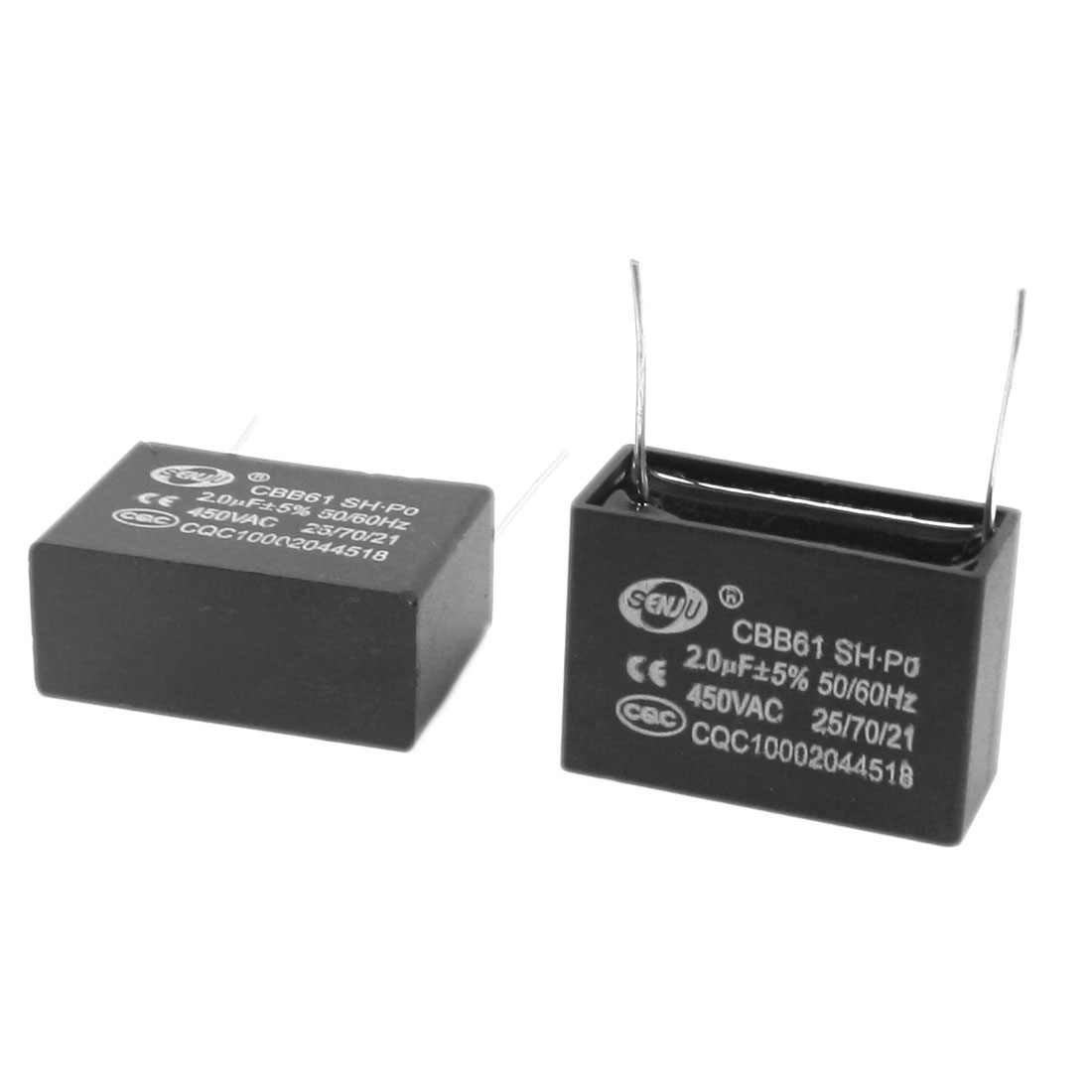 2 Pcs AC 450V 2uF 5% Tolerance 2 Pin Radial Lead Type Non Polar Polypropylene Film Air Condition Motor Running Capacitor Black