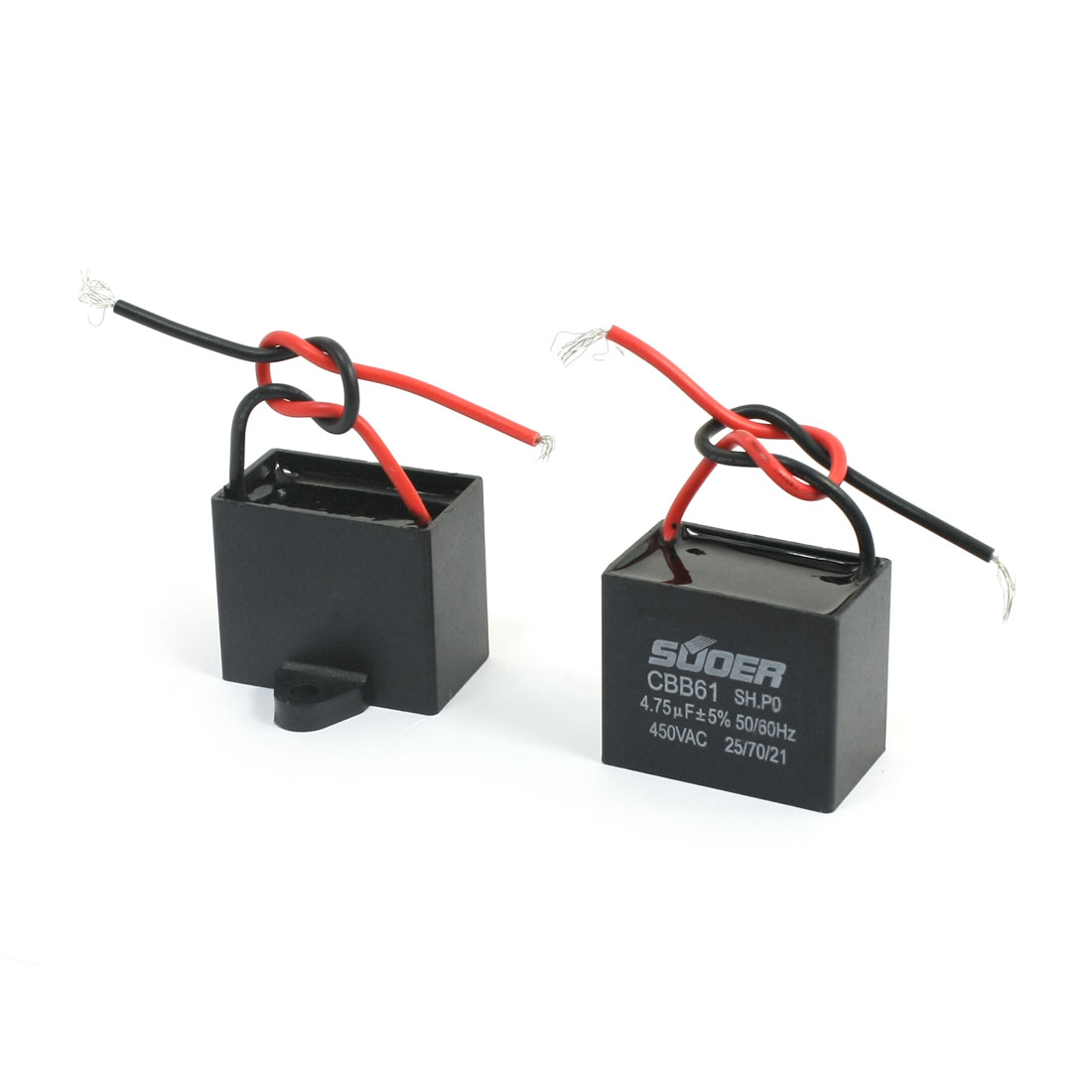 2 Pcs AC 450V 4.75uF 5% Tolerance 2 Wire Non Polar Polypropylene Film Air Condition Motor Running Capacitor Black
