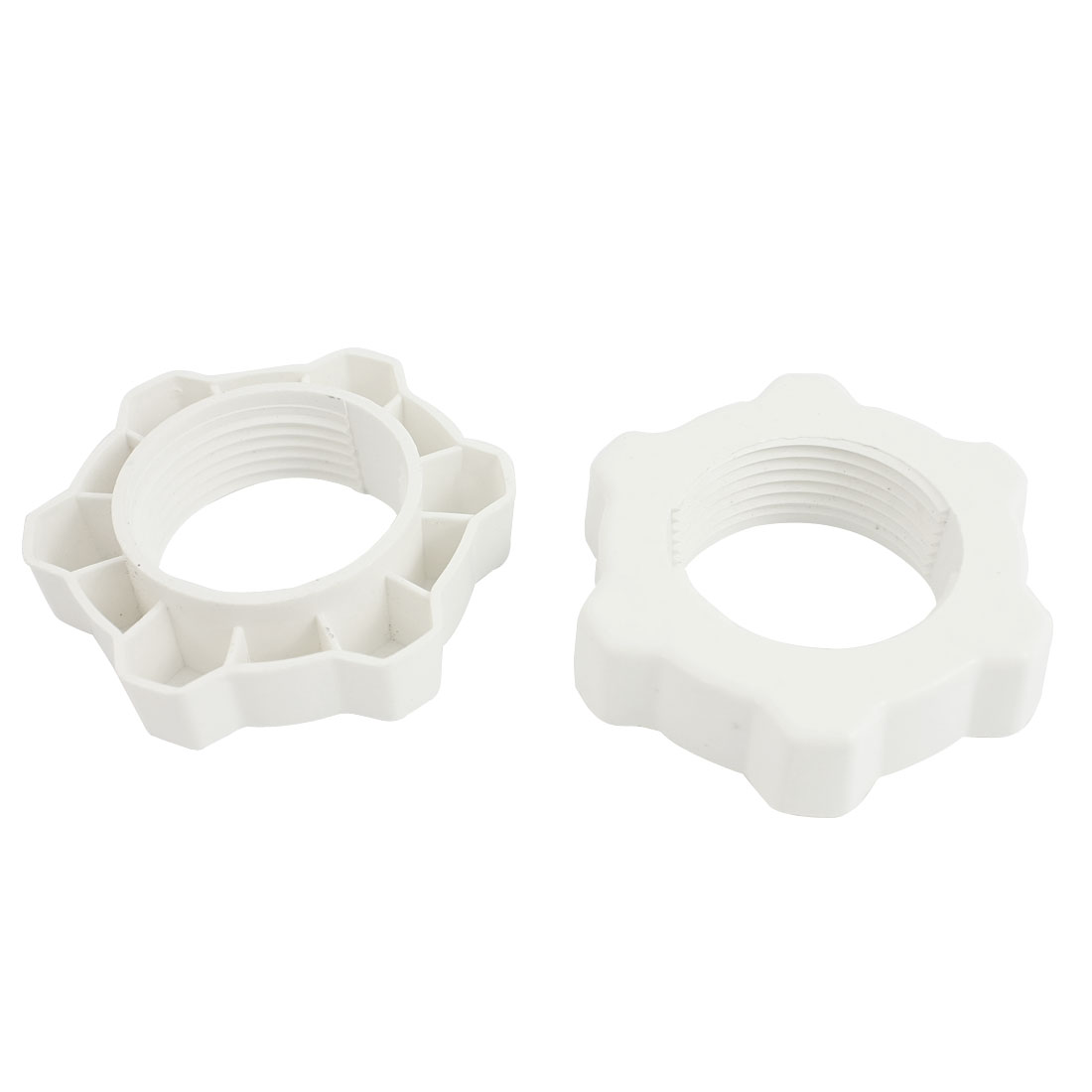 White Plastic 33mm Thread Diameter Fan Guard Fastener Screw Nuts 2 Pieces