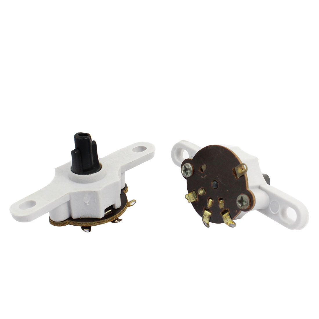 2 Pcs Home Office 4 Pin Plastic Electric Wall Fan Speed Control Switch Part White