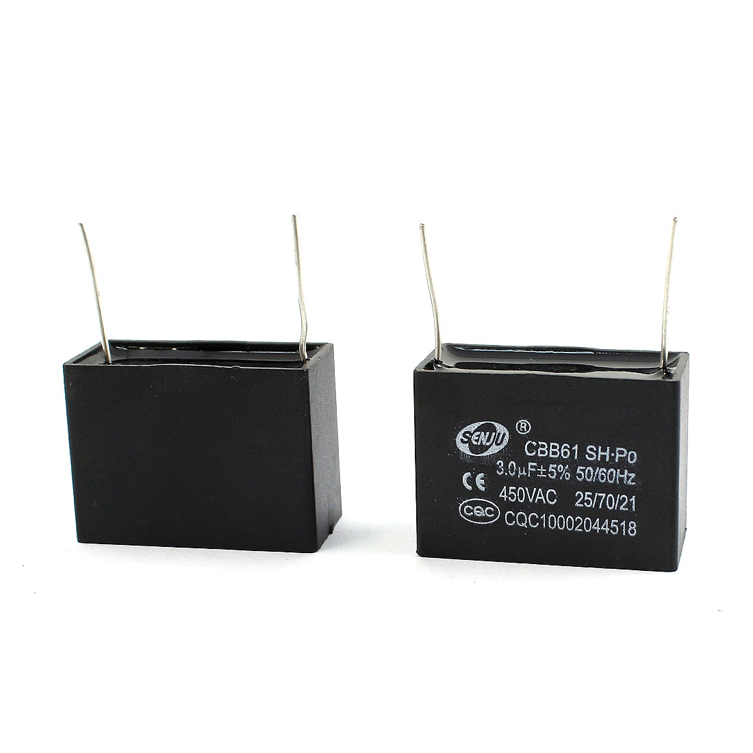 2 Pcs AC 450V 3uF 5% 2 Pin Radial Lead Type Non Polar Polypropylene Film Air Conditioner Motor Running Capacitor Black