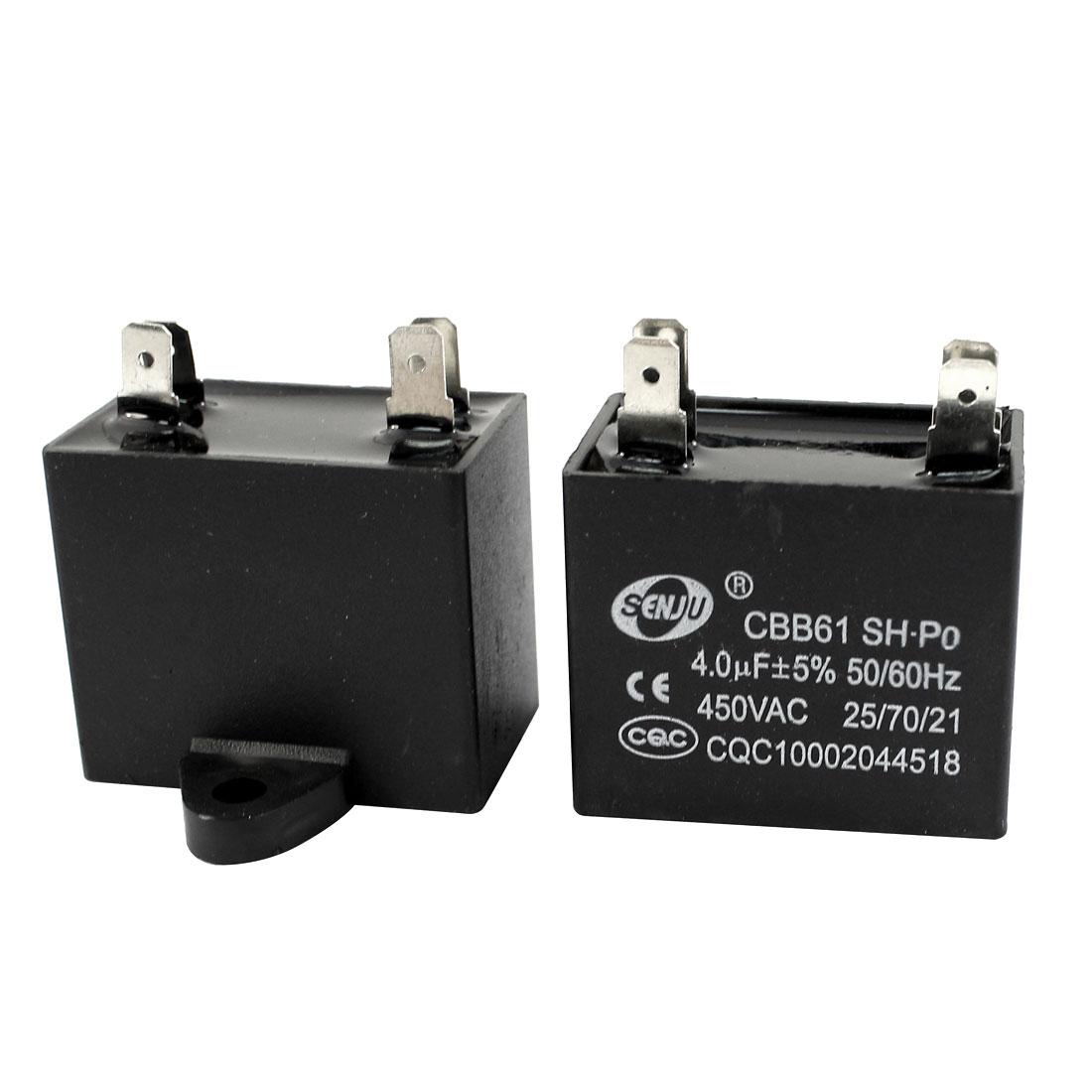2 Pcs AC 450V 4uF 5% Tolerance 4 Pin Non Polar Polypropylene Film Air Conditioner Motor Running Capacitor Black