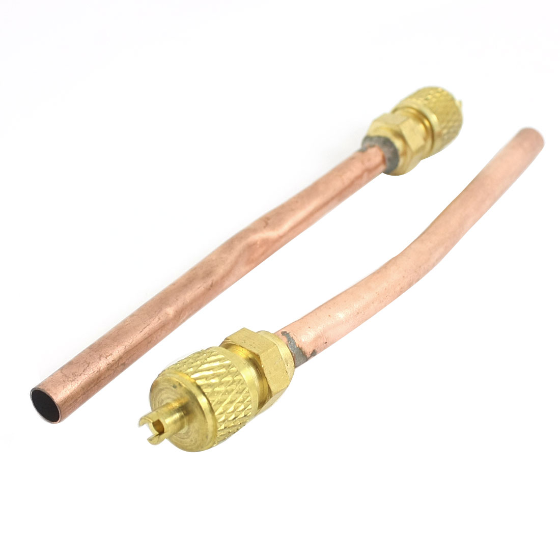 "2 Pcs 0.24"" Outer Dia Copper Tone Extension Tube Air Conditioner Refrigeration Access Valve"