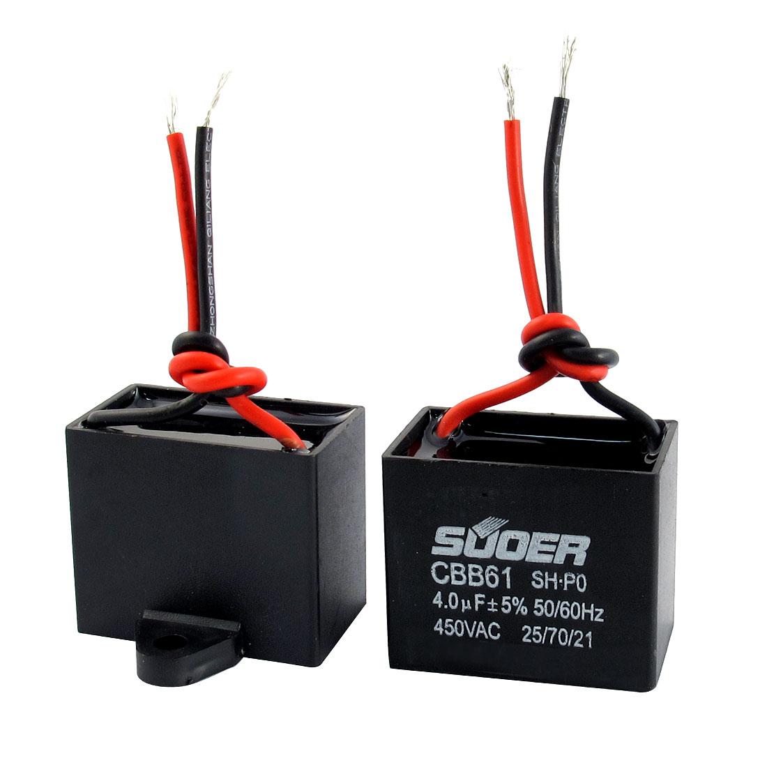 2 Pcs AC 450V 4.75uF 5% Tolerance 2 Wire Non Polar Polypropylene Film Air Condition Motor Running Capacitor Black