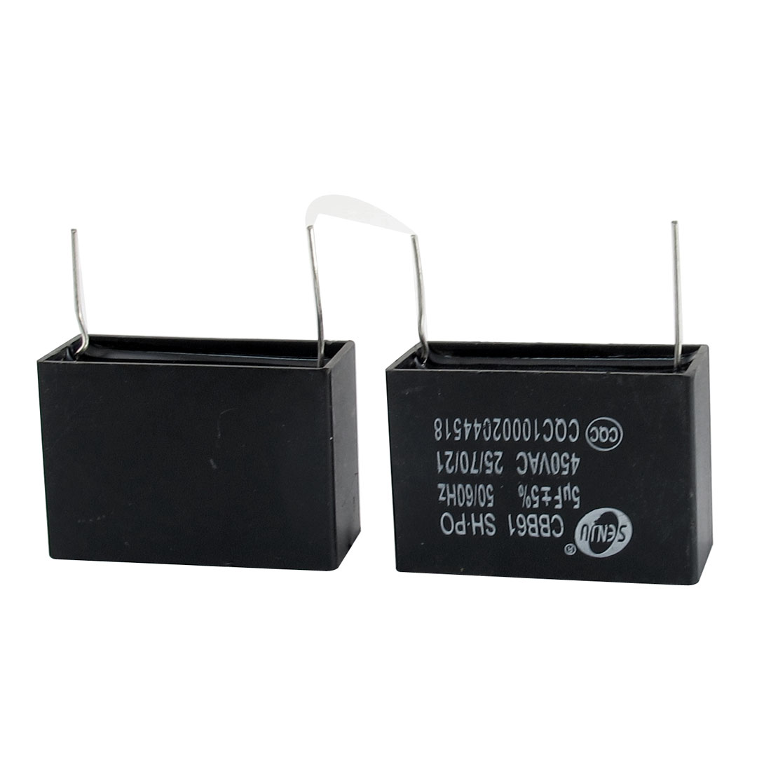 2 Pcs AC 450V 5uF 5% Tolerance 2 Pin Radial Lead Type Non Polar Polypropylene Film Air Condition Motor Running Capacitor Black