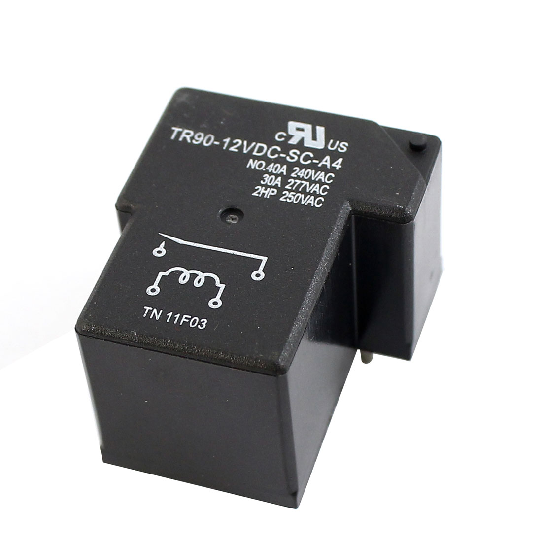 DC 12V Coil 4 Pins NO NC DPST Plastic Shell PCB Type Power Relay Black