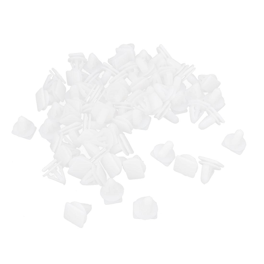 100pcs White Plastic 10mm Dia Hole Rivets Car Fastener Fender Push Bumper