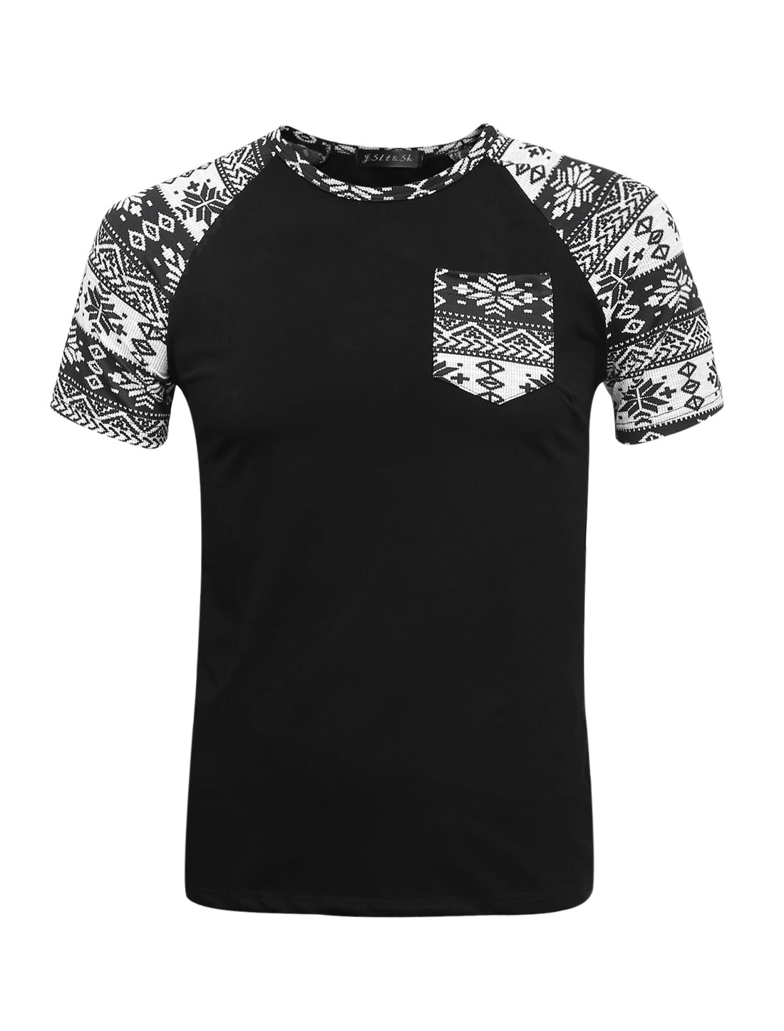 Men Snowflake Prints Short Raglan Sleeve Slim Fit T-Shirt Black S