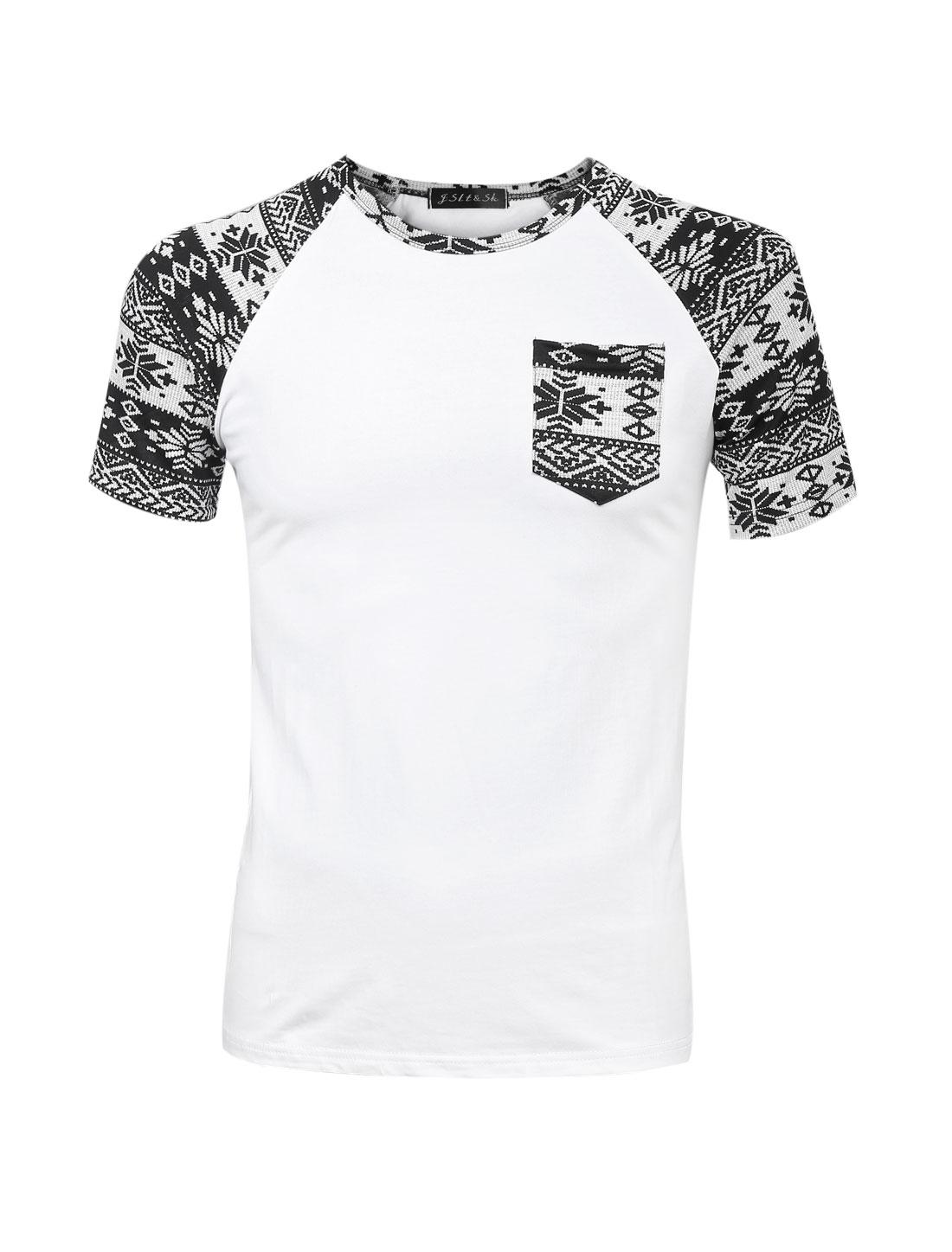 Men Snowflake Prints Patchwork Design Slim Fit T-Shirt White S