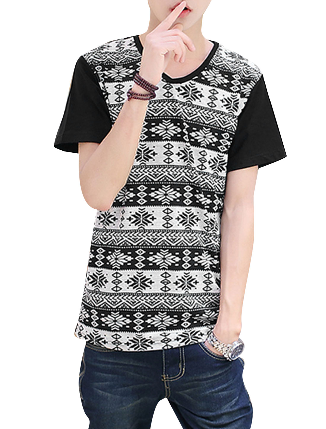 Men V Neck Geometric Prints Snowflake Prints Leisure T-Shirt Black S
