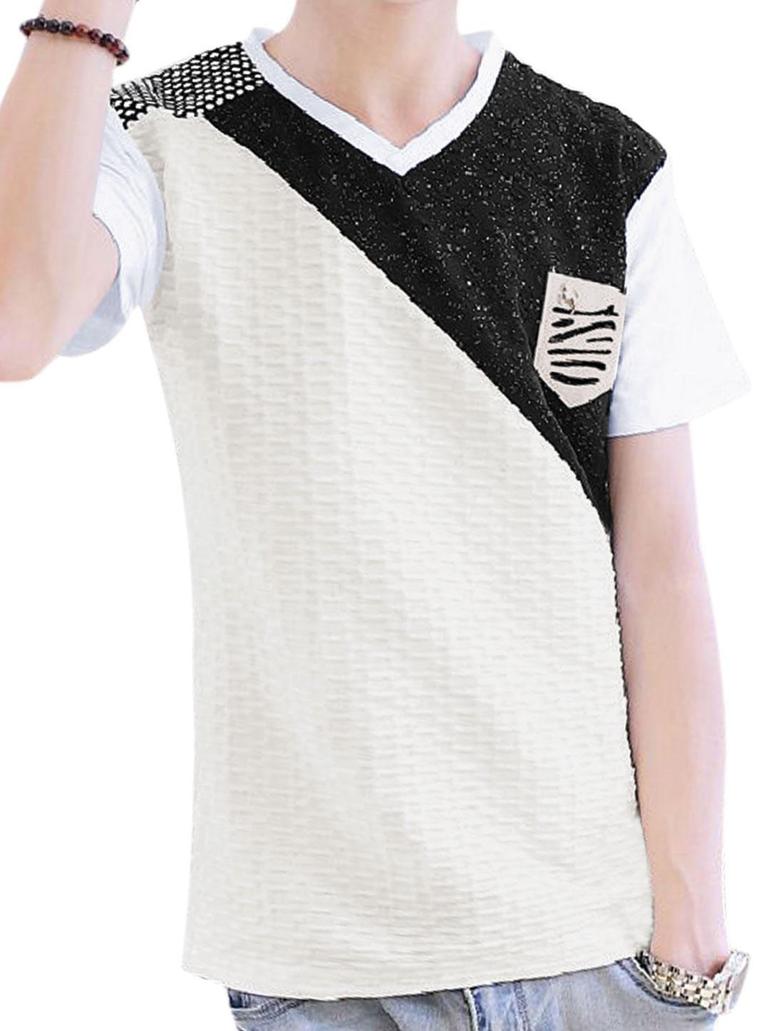 Men V Neck Imitation Leather Chest Pocket Leisure T-Shirt White S