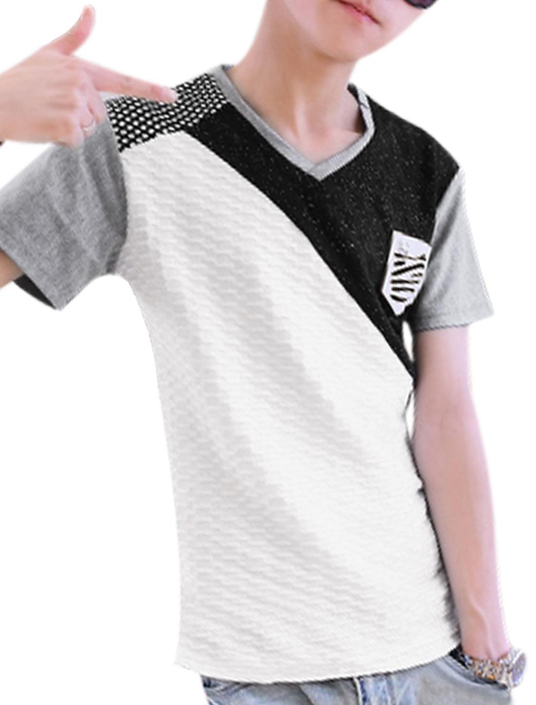 Men V Neck Short Sleeve Textured Design Leisure T-Shirt Light Gray S