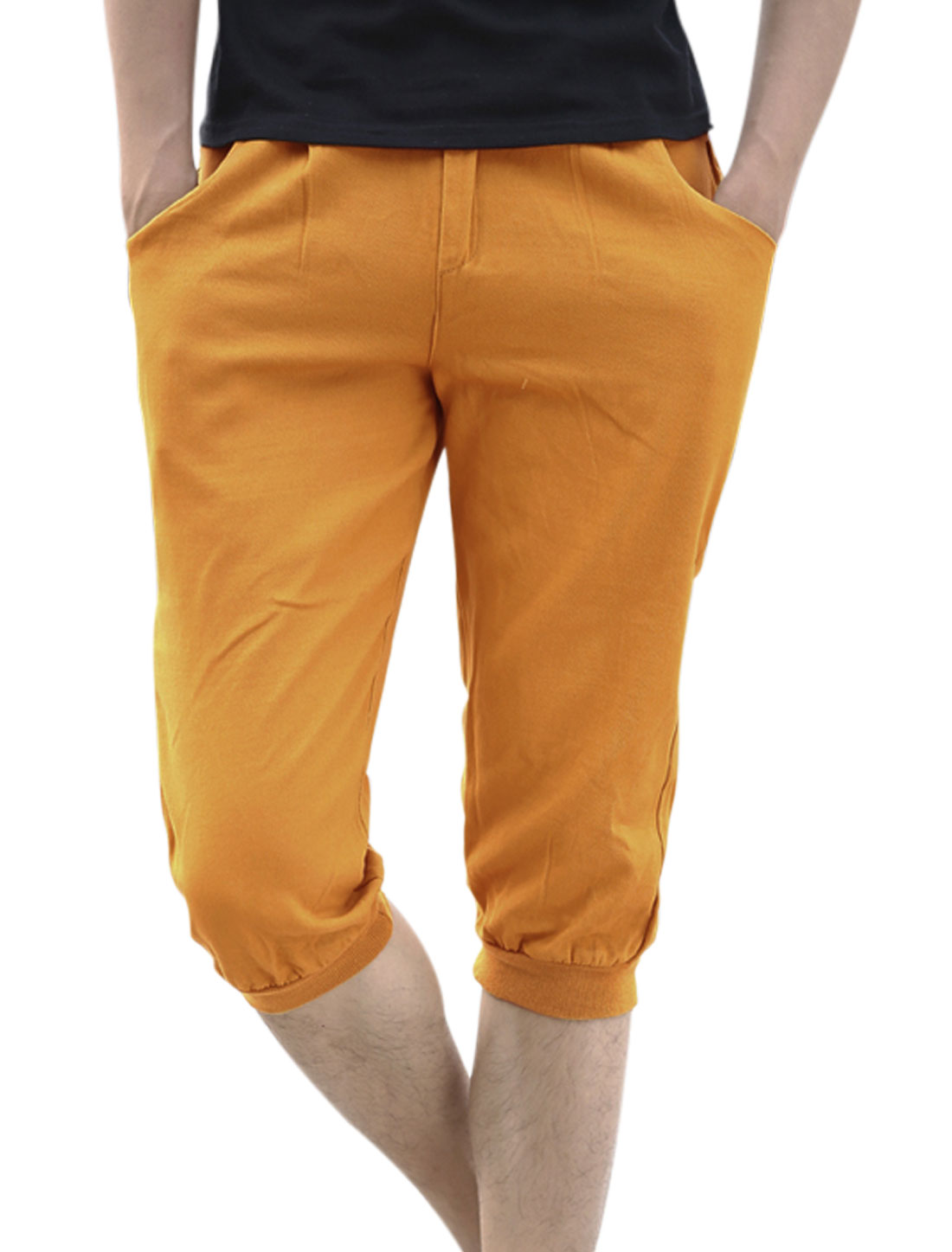Belt Loop Zipper Closure Ribbed Cuffs Capris Pants for Men Camel W32