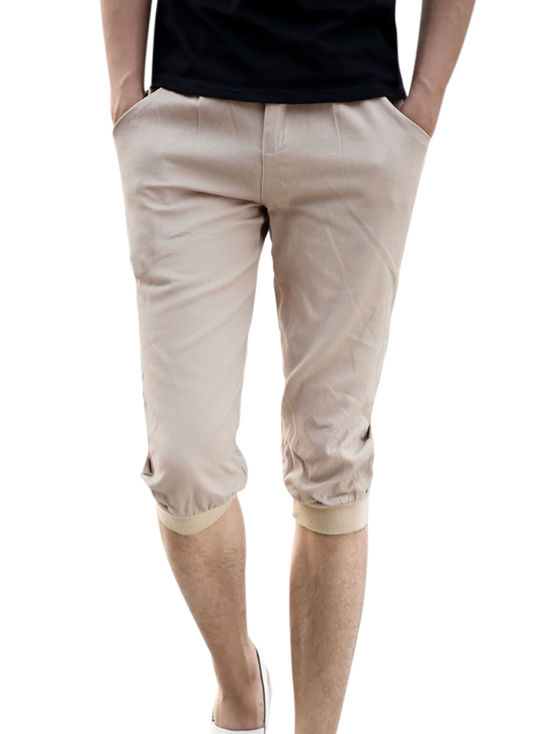 Belt Loop Zip Fly Ribbed Patched Cuffs Capris Pants for Men Khaki W32