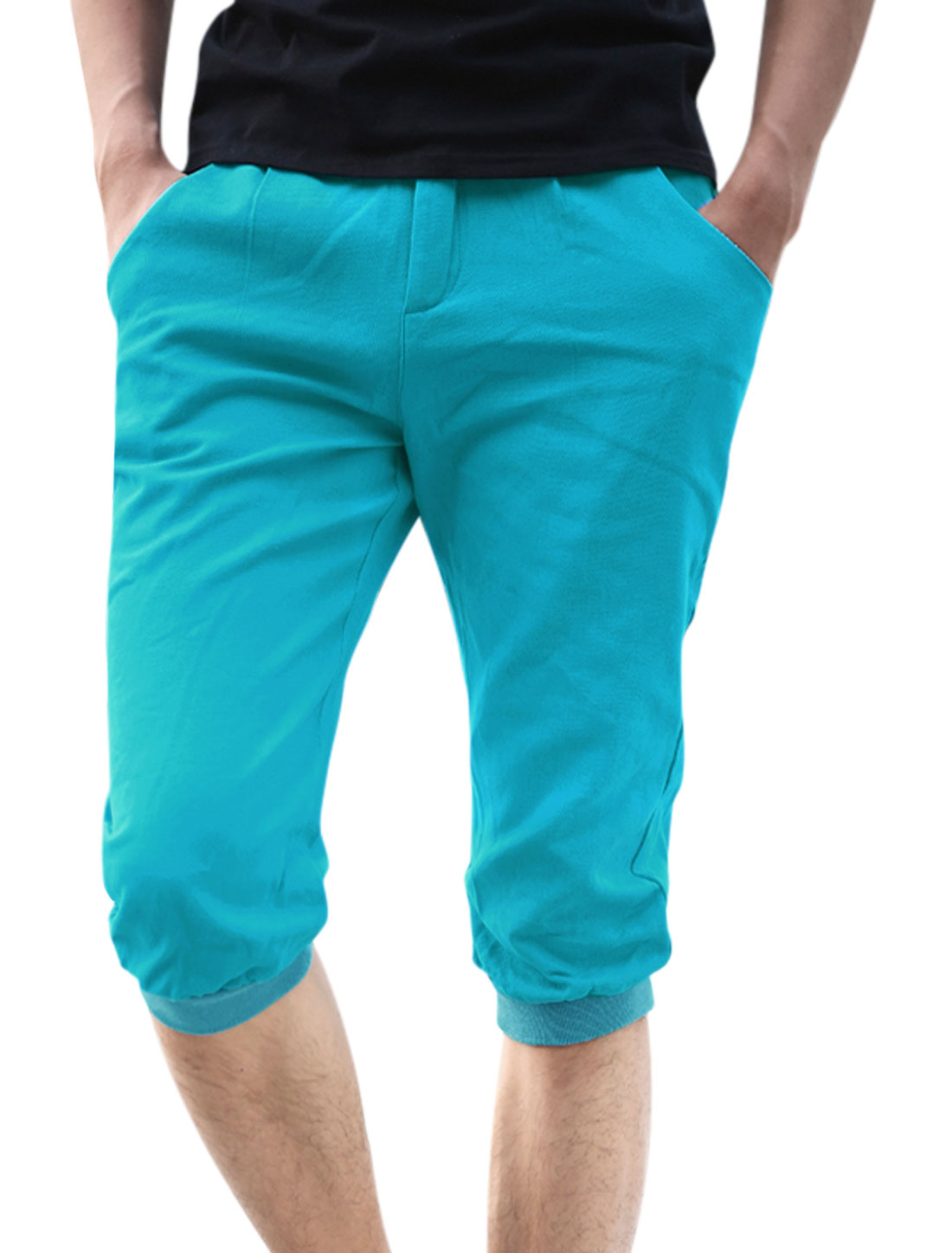 Belt Loop Zip Front Ribbed Patched Cuffs Capris Pants for Men Blue W32