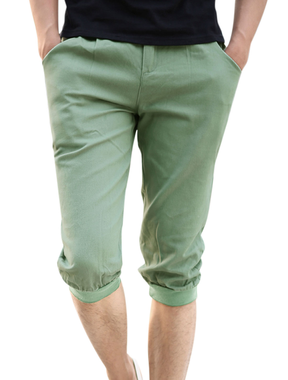 Casual Zip Fly Ribbed Patched Cuffs Capris Pants for Men Mint W32