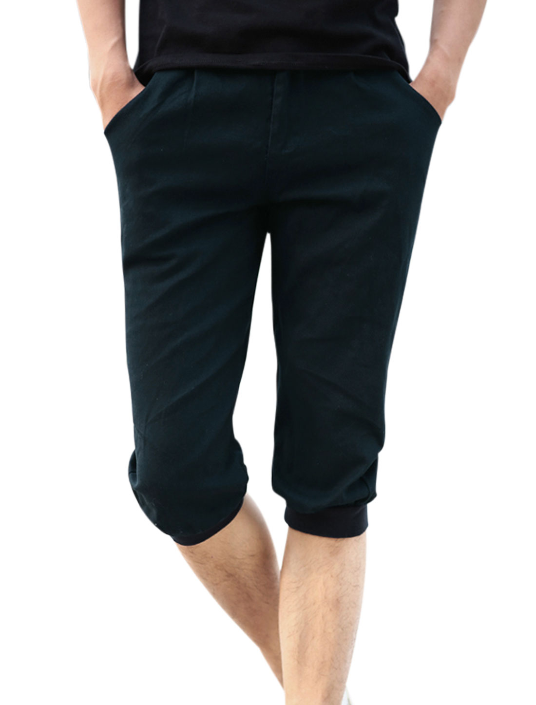 Belt Loop Zip Fly Double Pockets Back Capris Pants for Men Navy Blue W32