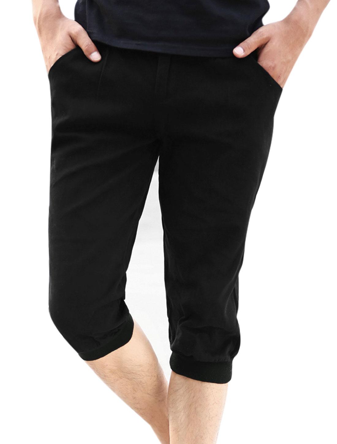 Belt Loop Zip Fly Four Pockets Capris Pants for Men Black W32