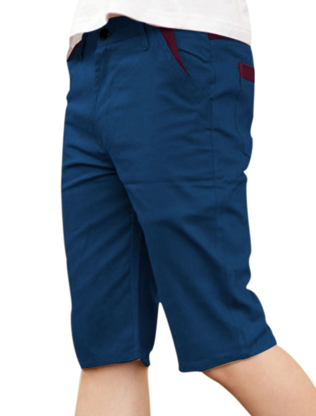 Men Belt Loop Zip Fly Panel Design Casual Shorts Navy Blue W32