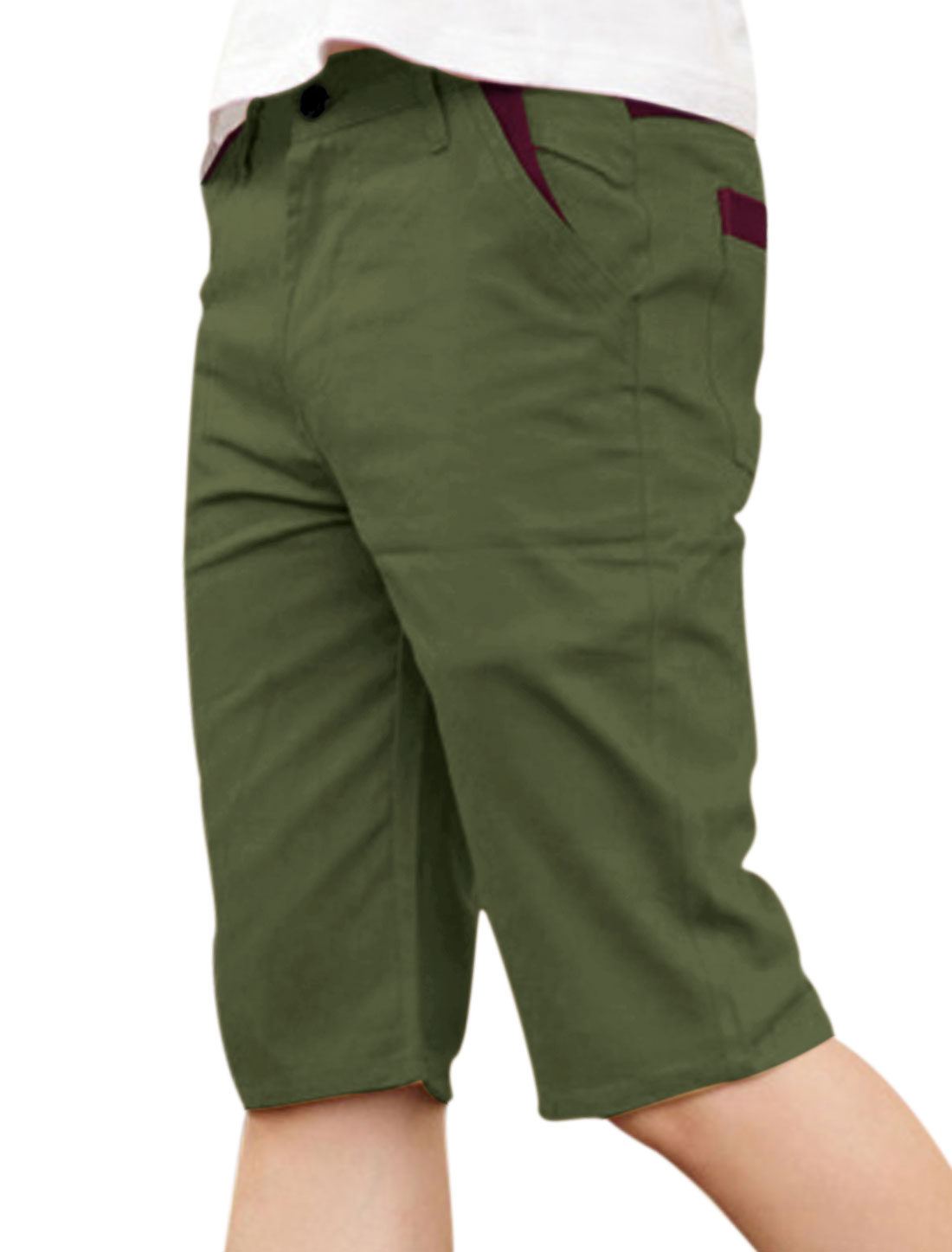 Men Zip Fly One Button Up Panel Design Casual Shorts Army Green W32