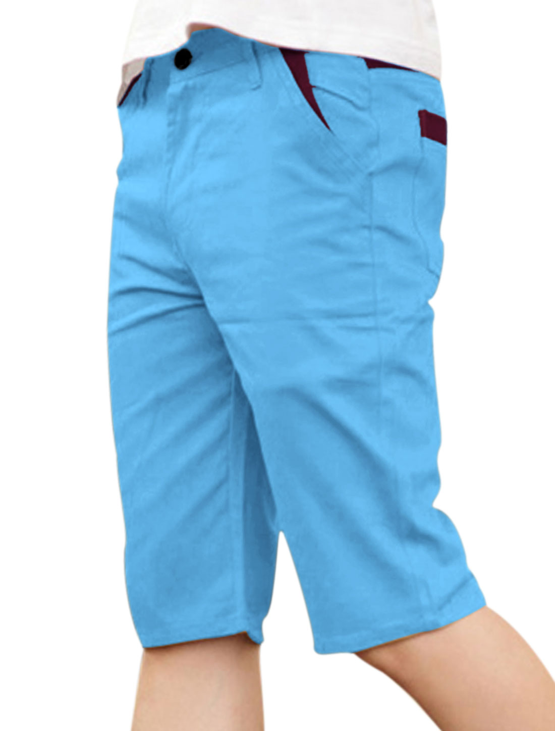 Men Belt Loop Zip Fly Patched Design Casual Shorts Sky Blue W32