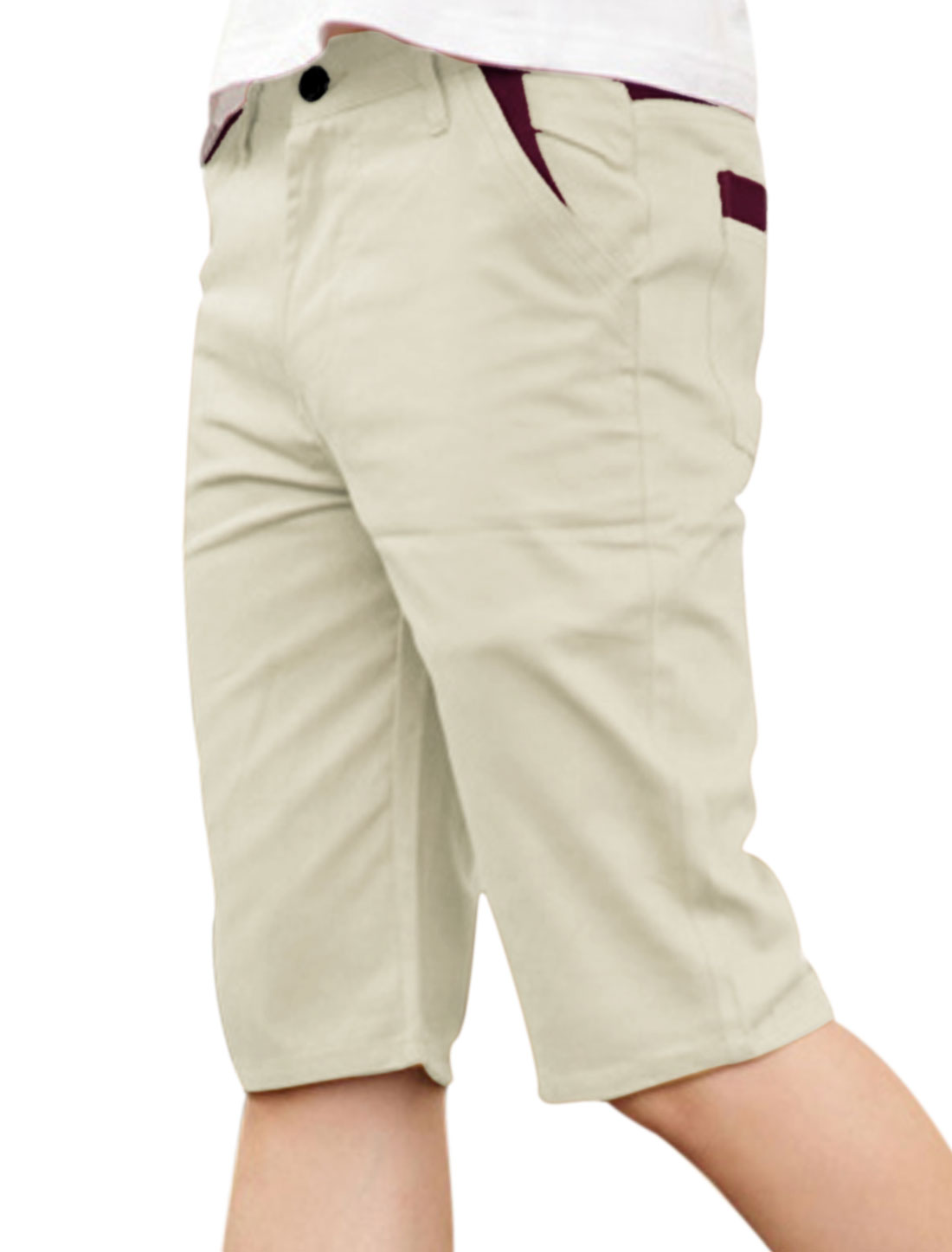 Men Mid Rise Belt Loop Zip Fly One Button Up Shorts Light Khaki W32