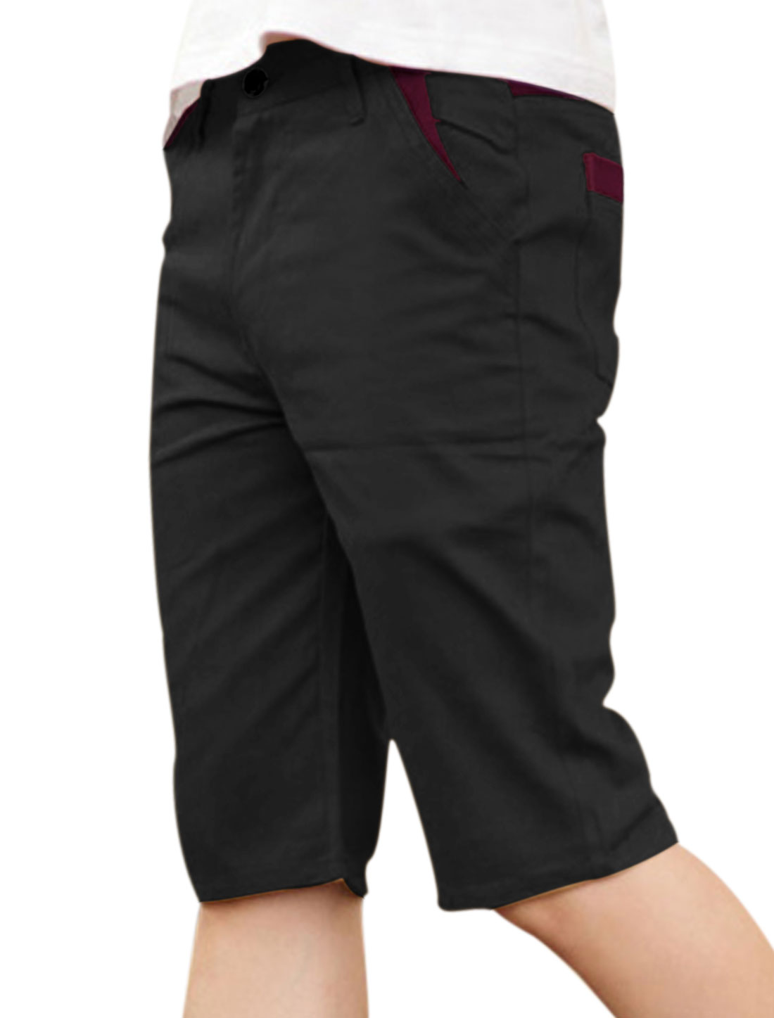 Men Belt Loop Zip Fly Panel Design Short Pants Black W32