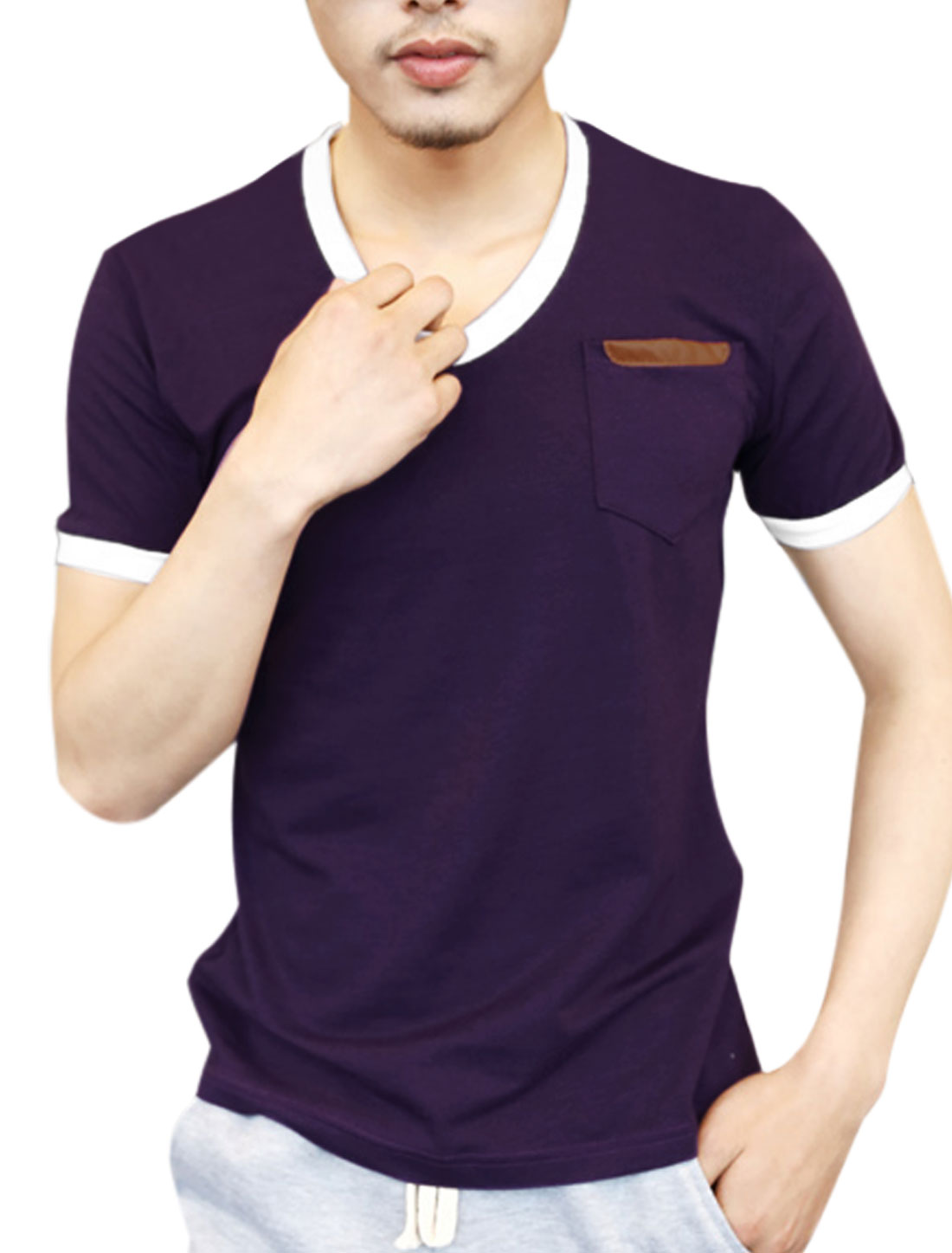 Men V Neck One Breast Pocket Piped Detail Cozy Fit T-Shirt Purple M