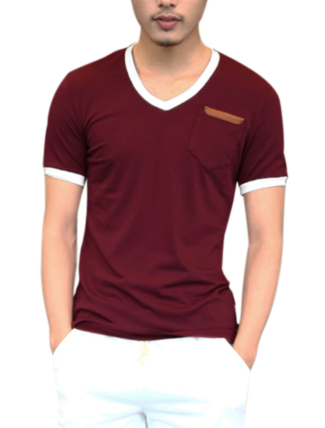 Men One Breast Pocket Imitation Leather Detail Cozy Fit Tee Burgundy M